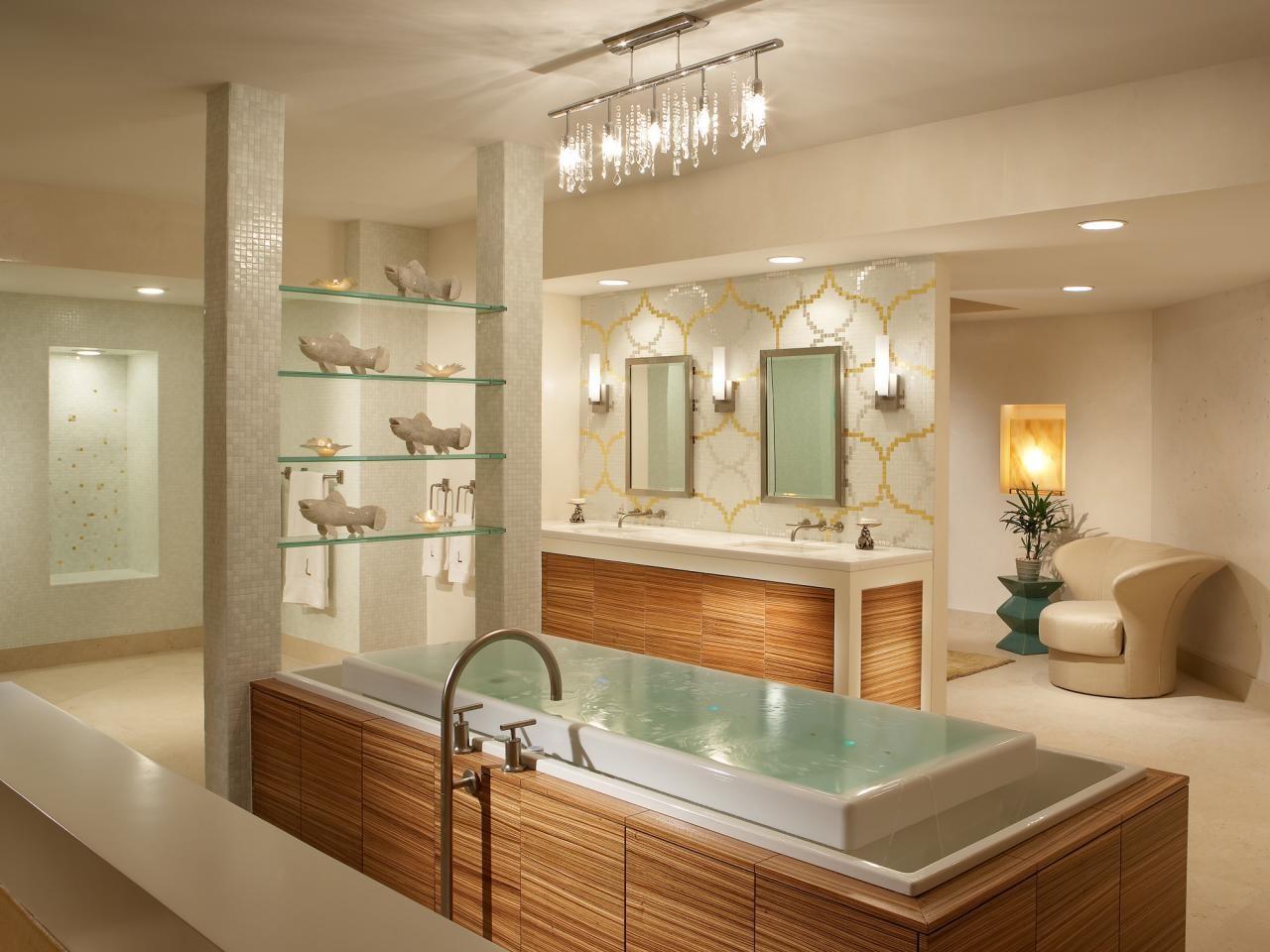 bathroom with infinity tub