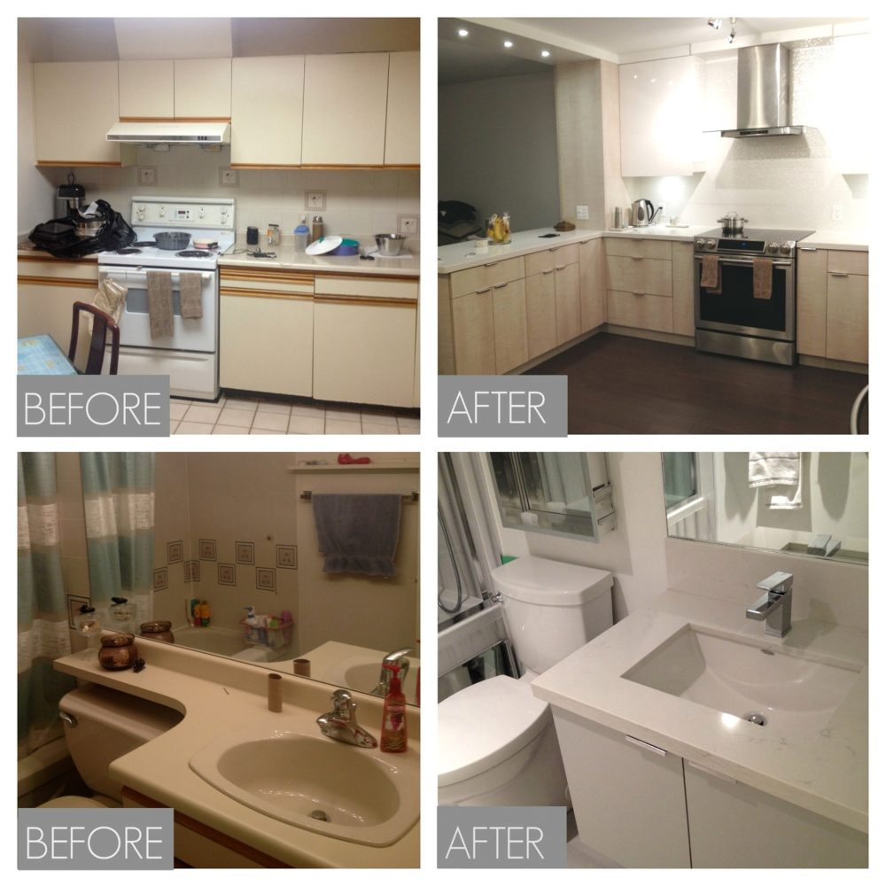 kitchen and bathroom before and after