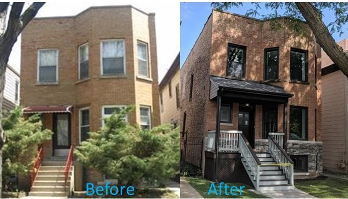 2 story exterior before and after