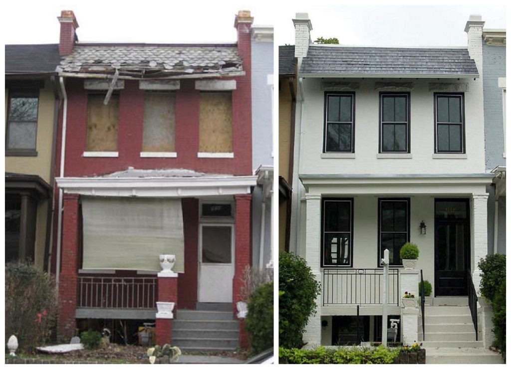 building exterior before and after